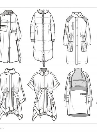2018/19秋冬 大衣棉服趋势 - 矢量图 - 男装成衣趋势